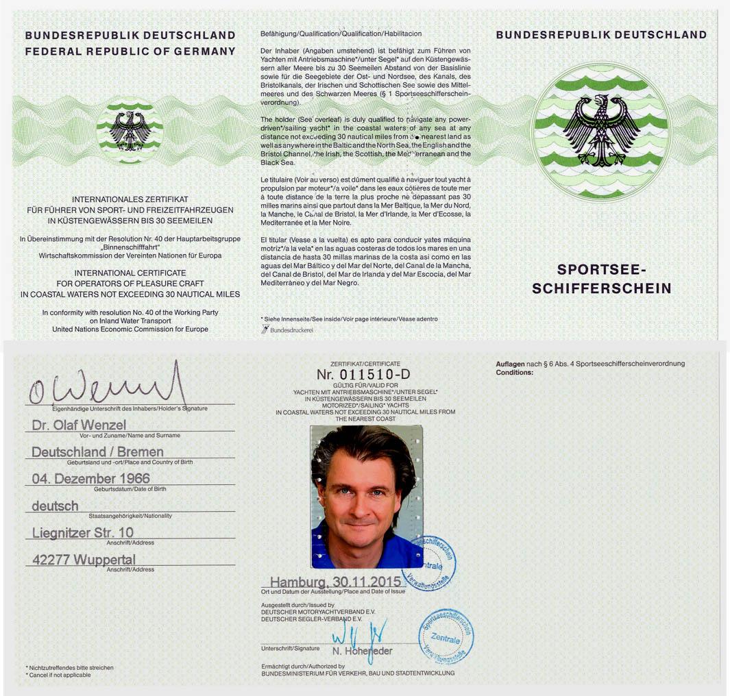 SSS Sportseeschifferschein Dr. Olaf Wenzel